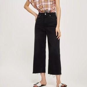 TOPSHOP Cropped Wide Leg Jeans Washed Black 26 34